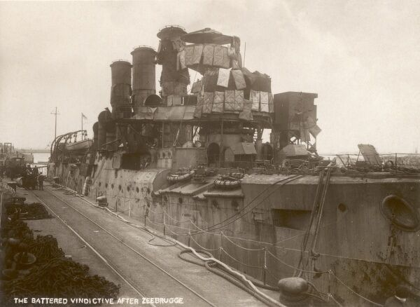 The damaged Cruiser HMS Vindictive (much repaired!) after the Zeebrugge Raid