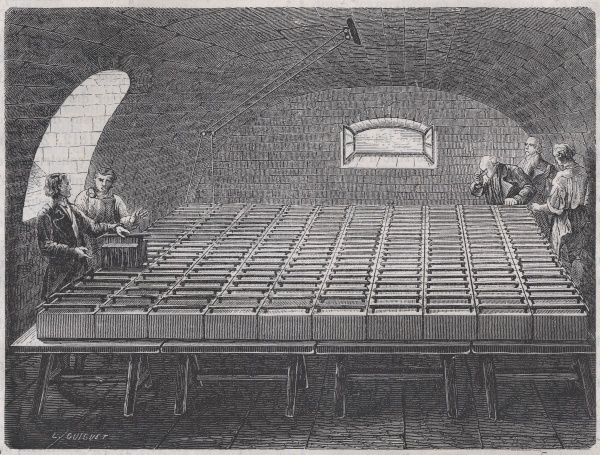 A large battery constructed at the Royal Institution, London, by Wollaston, for Davy