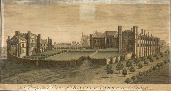 A perspective view of Battle Abbey in Sussex