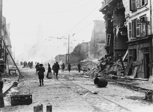 A fire in a quarter of Amiens much damaged by the bombardment during the battle on the Western Front in France during World War I in April 1918