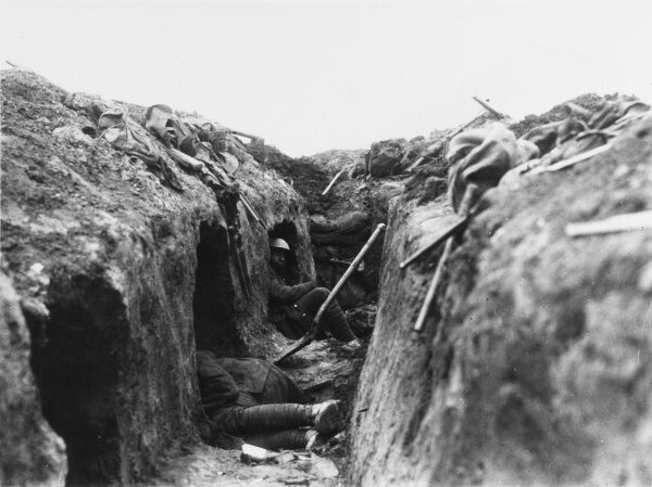 Canadian troops resting in trench shelters during the Battle of Arleux on the Western Front in France during World War I in April 1917
