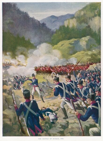 At the battle of BUSACO Wellington's men defeat a French army more than twice as large, securing a safe retreat to Torres Vedras : Portugal is now almost free from French