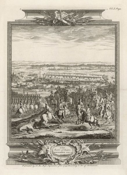 Battle of CHIARI : the imperial army under Prince Eugene defeats the French and Spanish forces under the duc de Savoie. Date: 1 September 1701