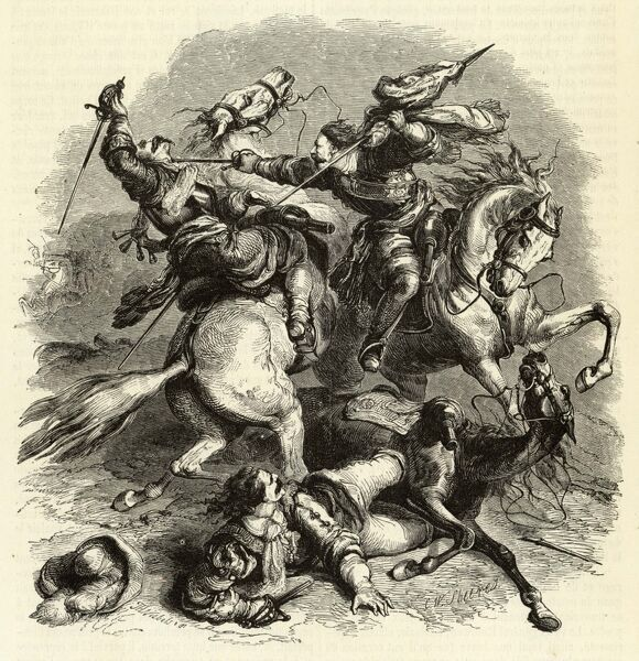 EDGEHILL Two mounted combatants clash during the battle