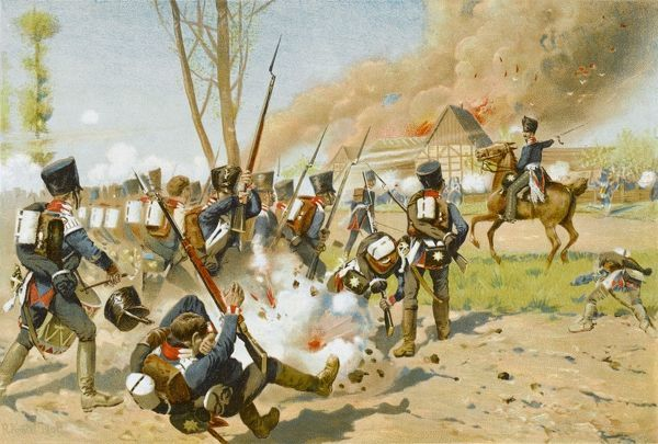 Battle of Gross-Goerschen - the German First Regiment of Guards in action against the French