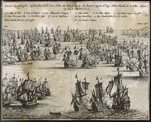BATTLE OF THE KENTISH KNOCK 1st Anglo-Dutch War. Admiral Witte de With & the Dutch fleet engage the English, led by Blake but are beaten back with severe losses