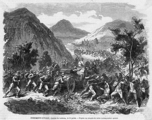 Garibaldi's forces engage the Austrians at the battle of Ladrona