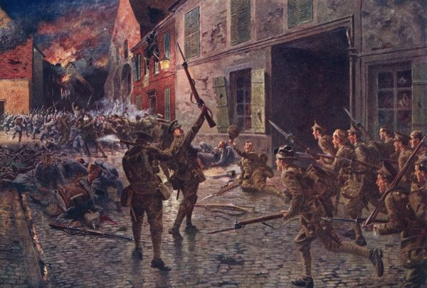 During th retreat from Mons, the Coldstream Guards and others hold off the Germans at Landrecies - 'one of the greatest soldiers' battles in history'. Date: August 1914