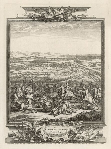 Battle of LUZZARA : the French under the duc d'Anjou are defeated by prince Eugene's imperial forces