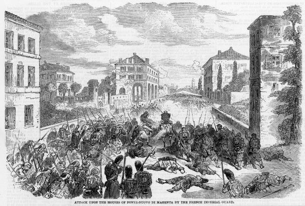 The battle of Magenta is essentially a fight for the town : Piedmontese and French forces drive the Austrians out after bitter street fighting