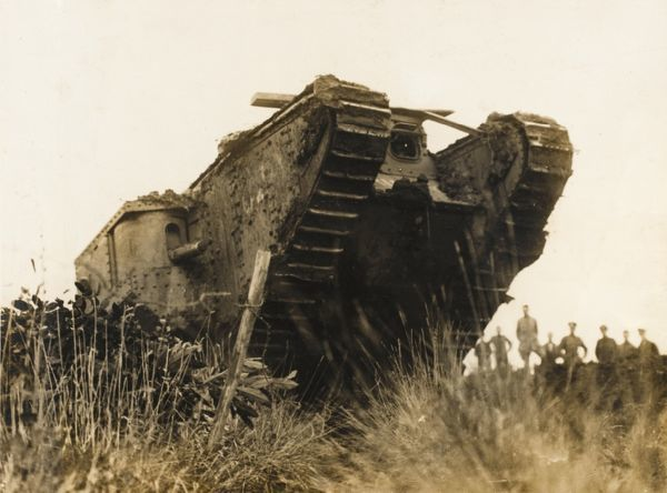 A tank at the Battle of the Menin Road on the British Western Front during World War I