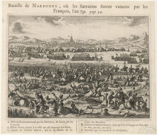 The Franks, besieging Narbonne which is occupied by the Saracens, are victorious in this battle, but fail to take the town which will not be theirs again until 759