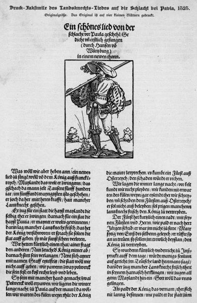 Popular broadsheet describing the battle of Pavia, where Francois I is defeated by a mixed Imperial army, leading to the Spanish domination of Italy
