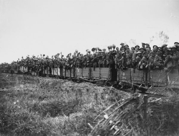 11th Durham Light Infantry being taken forward to the Battle of Pilkem Ridge by light railway passing Elverdinghe in France on the British front during World War I on 31st July 1917