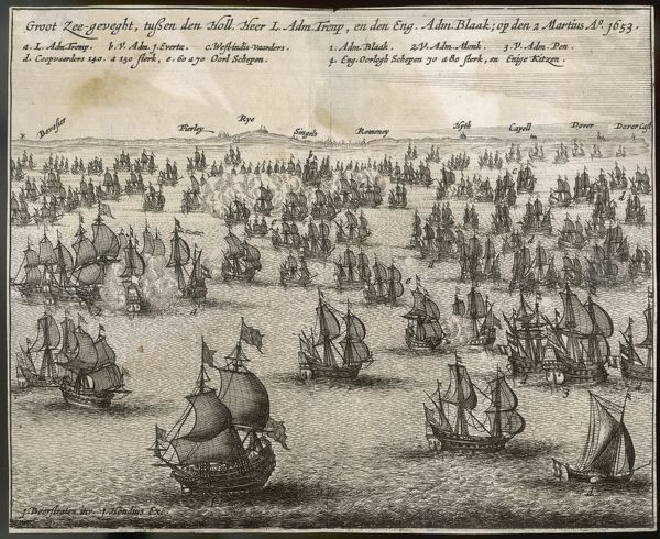 BATTLE OF PORTLAND (Three-days battle), 1st Anglo-Dutch War. Robert Blake & fleet of the Commonwealth of England attack Dutch under Maarten Tromp who suffered heavy losses