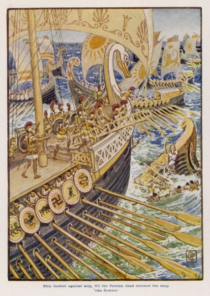 At SALAMIS, the Greek fleet of 370 vessels defeats the Persian fleet of 1000+, thus forcing Xerxes to cancel his plan to invade Greece