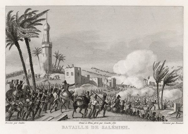 Though not listed in any of our reference books, the battle of SALEHIEH is almost certainly an incident of Napoleon's ill-fated Egyptian campaign, near Jerusalem