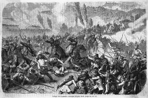 The decisive charge by the French chasseurs against the Austrian lines