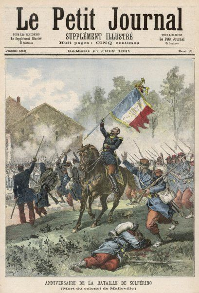 Austrian forces, opposing the unification of Italy, are defeated in a decisive battle at Solferino, near Verona, Italy, by French and Piedmontese forces