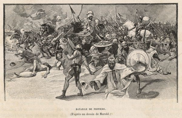 The Saracens are repulsed at Tours by Charles Martel, losing their commander Abderrahman ibn Abdillah : it is regarded as one of the decisive battles of history