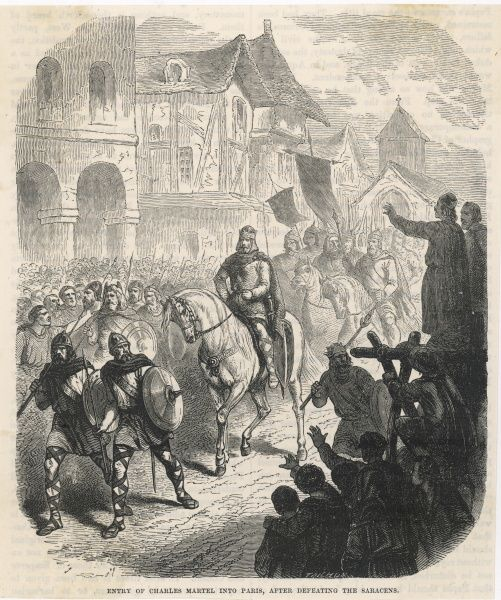 Charles Martel makes a triumphant entry into Paris, after repelling the Saracens at Tours by Charles Martel : they lost their commander Abderrahman ibn Abdillah