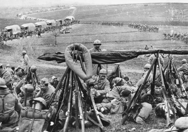 French troops at Fort Vaux, Nixeville, during the Battle of Verdun on the French front during World War I in April 1916