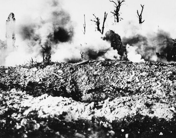 Enemy shell bursts during the third battle of Ypres, Passchendale during World War I on 4th September 1917