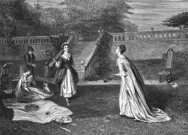 Two ladies enjoy a game during a leisurely picnic in some gardens. Date: 18th century