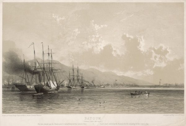 The harbour of Batum (Batumi) on the Black Sea near the Turkish border : at the time this picture was made it was still under Turkish rule