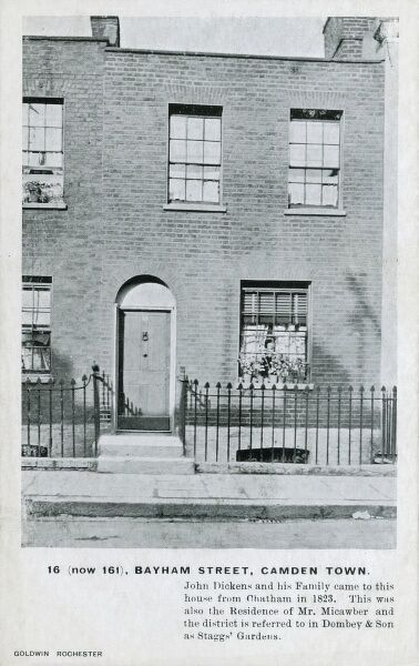 16 (now 161) Bayham Street, Camden, London - home to John Dickens and his family, who moved here from Chatham in 1823