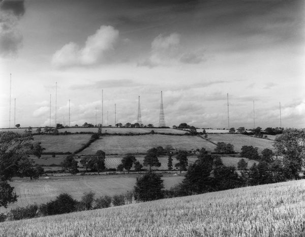 The B.B.C, (British Broadcasting Corporation) television masts at Daventry, Northamptonshire, England. Date: 1960s