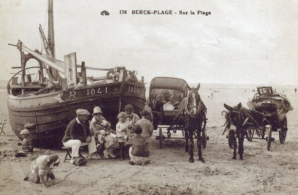 The Beach at Berck-Plage, France Date: circa 1910s