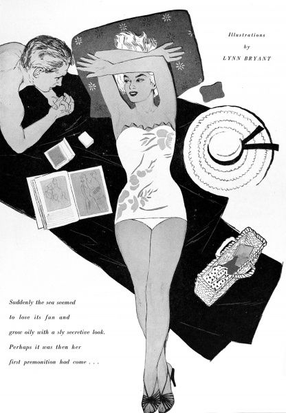 Illustration showing a glamorous beach scene in the mid-1950's