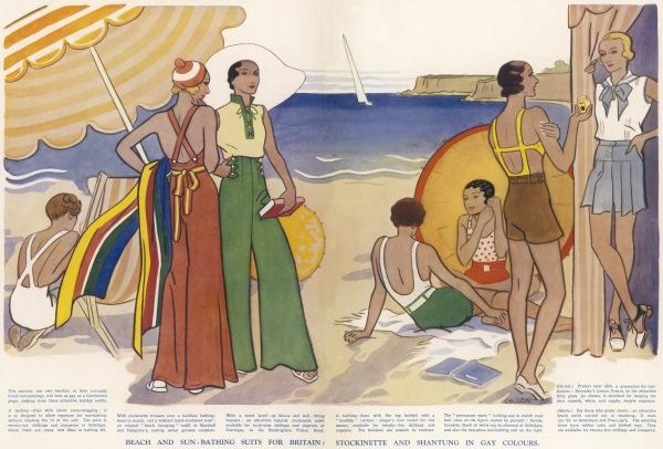 Fashionable women in their summer outfits relaxing at the beach