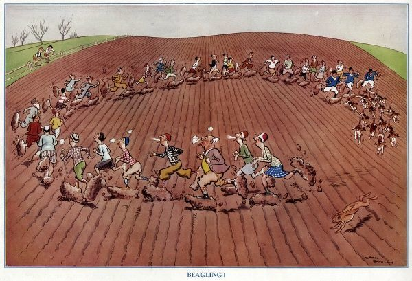Humorous illustration by H. M. Bateman showing a number of fashionably dressed society folk following foxhounds round in a circle in a ploughed, muddy field. Date: 1930
