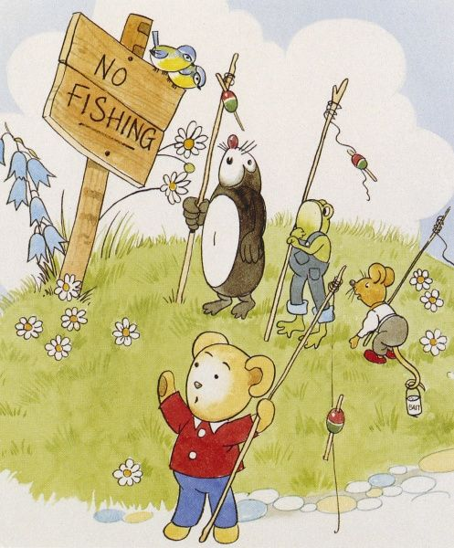 A bear and his friends go on a fishing trip, but are disappointed to see a 'No Fishing' sign when they reach the water