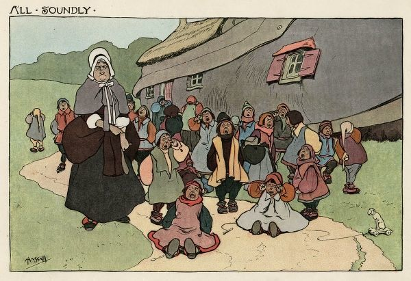 There was an old woman who lived in a shoe, she had so many children... She beat them all soundly -- an illustration to the nursery rhyme, showing the old woman and her children outside their home. They are all crying, having just been beaten