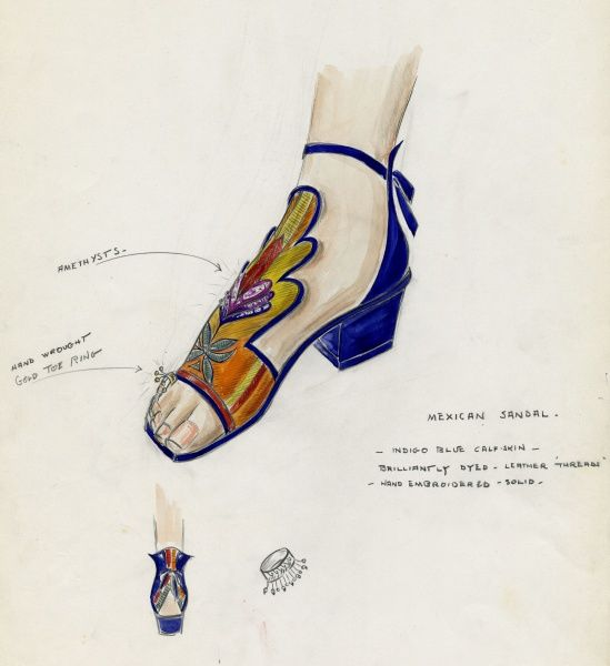 Costume design for Beatrice Lillie for her role in Dr. Rhythm, starring Bing Crosby and directed by Frank Tuttle. Shoes for gaucho number. Date: 1938
