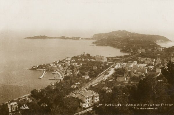 General panoramic view of Beaulieu and Cap Ferrat, South of France