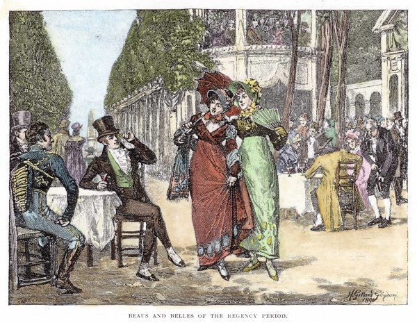Beaux and belles of the Regency period in Vauxhall Gardens