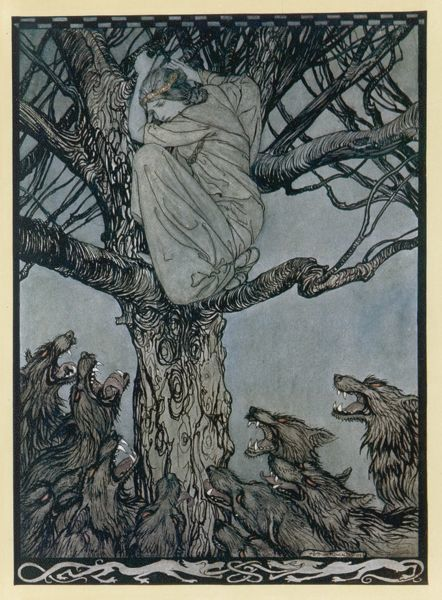 A lady takes to the trees to avoid being eaten by wolves - an episode from the Story of Beefola. Date: Medieval