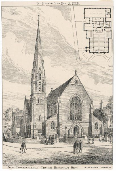 New Congregational Church Beckenham, Kent designed by the Architects J W & F F Beaumont. A plan of the church & school rooms is included