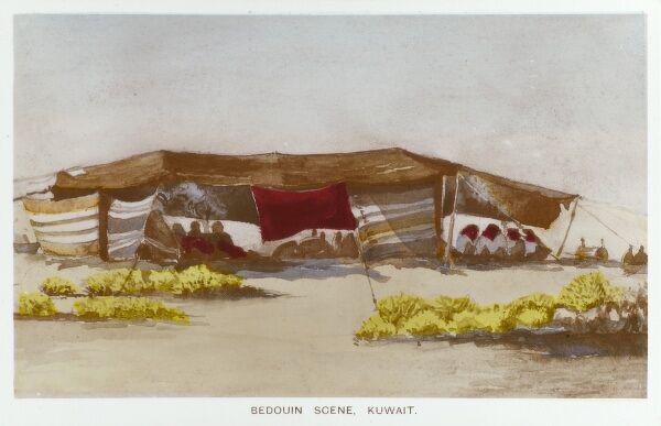 Bedouin scene with tent - Kuwait Date: circa 1910s