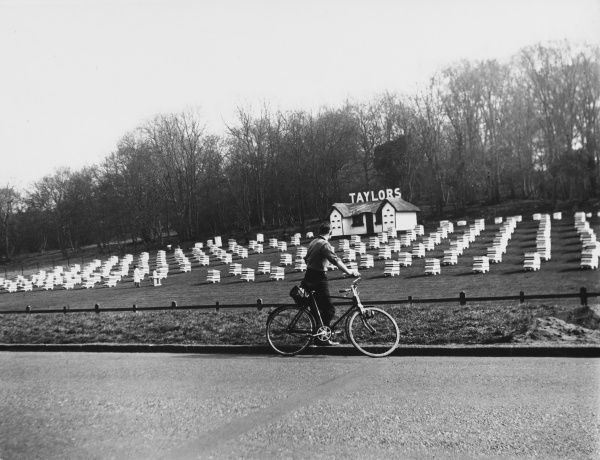 A cyclist stops to admire the many rows of bee hives situated here along the Great North Road near Welwyn in Hertfordshire, England