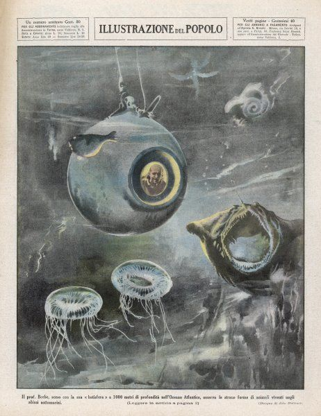 Professor Beebe in his BATHYSPHERE, 1000 metres below the surface of the Atlantic Ocean