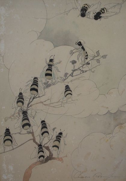 A group of bees clamber to the end of a tree branch, where one appears to be challenging the others to a sword duel