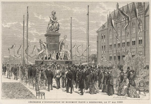LUDWIG VAN BEETHOVEN Inauguration of the monument to the German composer at Vienna on 1 May 1880