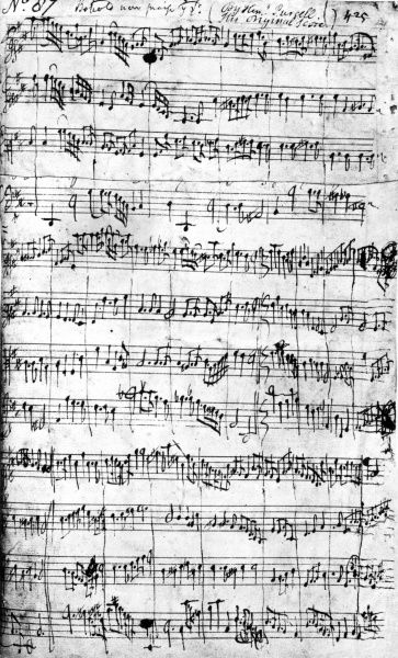 The music manuscript for 'Behold now praise the Lord' by Henry Purcell. Date: 17th century