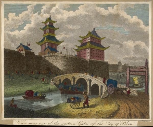 The Western Gates of Beijing leave travelers in no doubt that they are entering a mighty city. Note various forms of transport by river and road