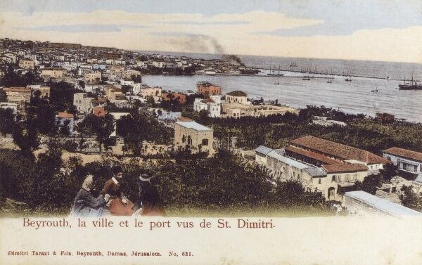 Beirut, Lebanon - The Town and port - view from St Dimitri Date: 1905